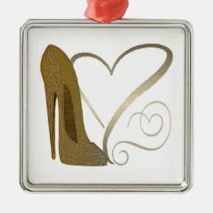 Love Vintage Stiletto Shoe Art And Hearts Metal Ornament at Zazzle