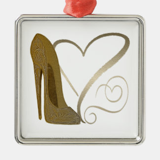 Love Vintage Stiletto Shoe Art and Hearts Metal Ornament