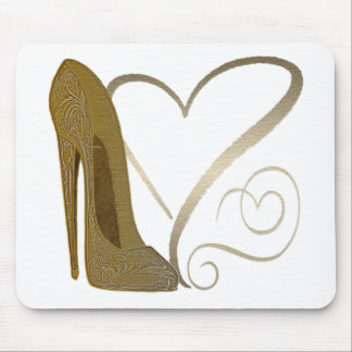 Love Vintage Stiletto Shoe Art and Hearts Mouse Pad