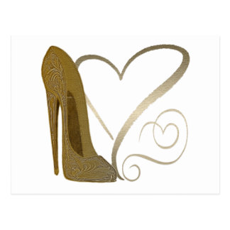 Love Vintage Stiletto Shoe Art and Hearts Postcard