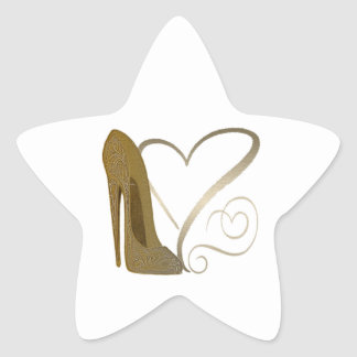 Love Vintage Stiletto Shoe Art and Hearts Star Sticker