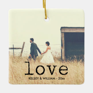 Love Vintage Typewriter Font Typography for Photo Square Ornament