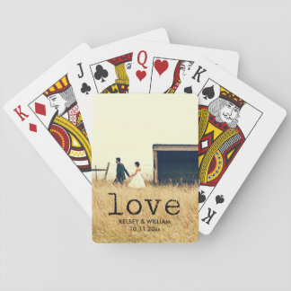 Love Vintage Typewriter Text with your Photo Poker Cards