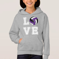 Love Volleyball - Purple, White and Black Hoodie