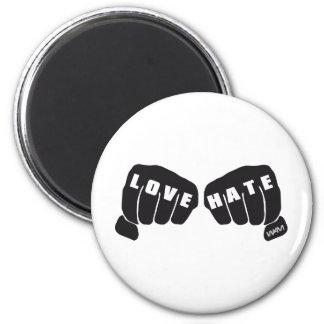 love vs hate 2 inch round magnet