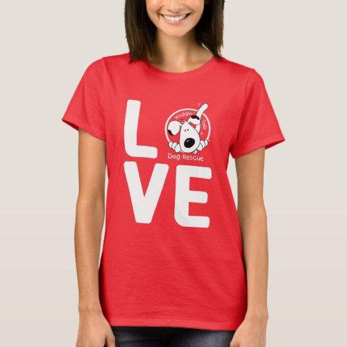 LOVE Waggin Tails _ womens dark T_Shirt