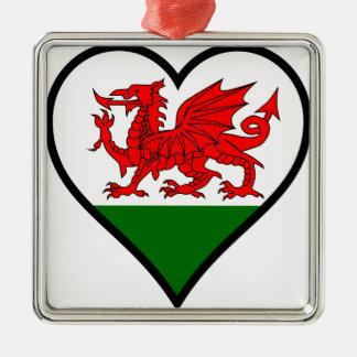 Love Wales Metal Ornament