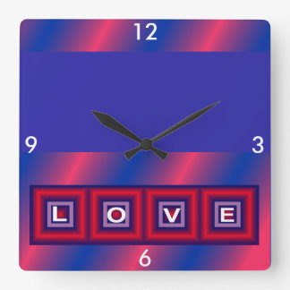 LOVE Wall Clock 4 Home on Red/White/Blue/Pink