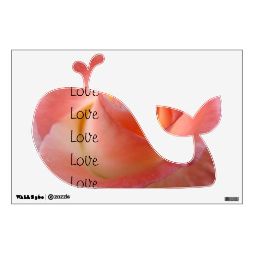 Love wall decals Whale Shape Pink Rose Valentines