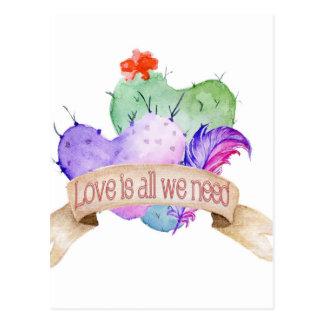 Love Watercolor Cacti Postcard