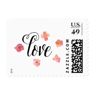 Love Watercolor Floral Stamp