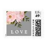 Love. Watercolor Floral Wedding Postage Stamps