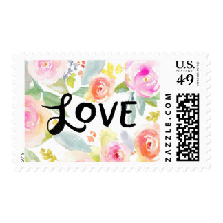 Love Watercolor Flower Postage Stamp
