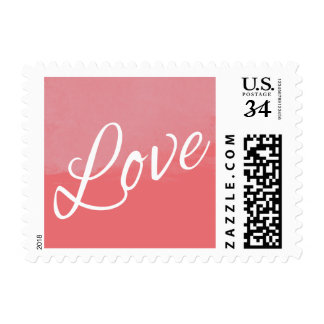 Love Watercolor Painting Pink Coral Typography Art Postage Stamp