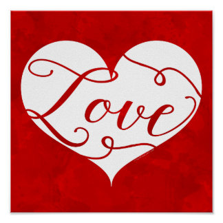 Love Watercolor Red Heart Swirl Valentine's Day Poster