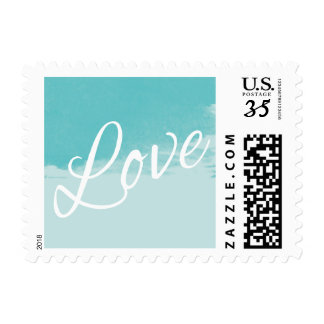 Love Watercolor Shades of Blue Script Typography Postage