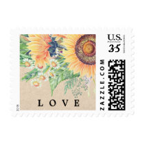 Love. Watercolor Sunflowers Wedding Stamps