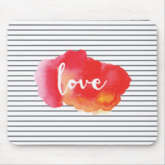 LOVE | Watercolor Word Art Mouse Pad