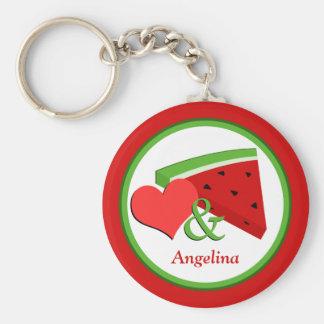 Love & Watermelon - Personalized Basic Keychain
