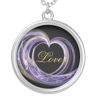 Love Wave Fractal Art Heart Necklace