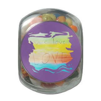Love we love love rainbow colour striped jelly belly candy jar