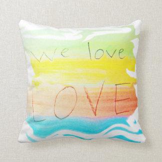 Love we love love rainbow colour striped throw pillow