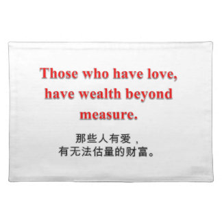 Love & Wealth Collection - Placemat Cloth Placemat