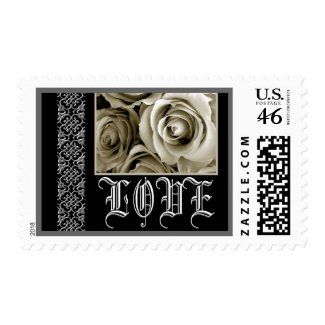 LOVE Wedding ANTIQUE WHITE Roses - SILVER Trim stamp