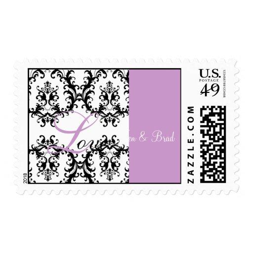 Love Wedding Bride Groom Damask Postage Purple