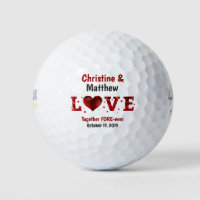 Love Wedding Favor Red Heart Stars Custom Golf Balls