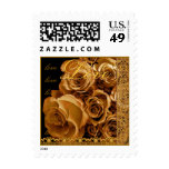 LOVE Wedding GOLD Roses &  ANTIQUE GOLD Lace Postage Stamp