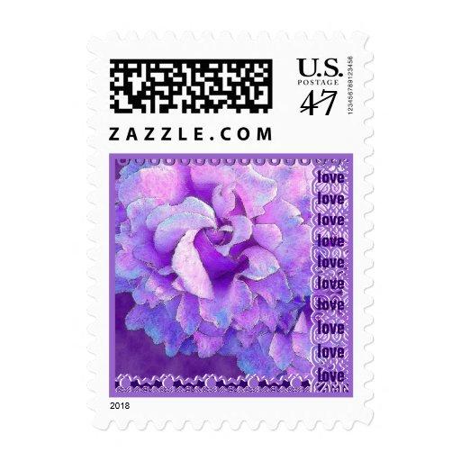 LOVE Wedding Iris Purple Lace Rose Small Stamp