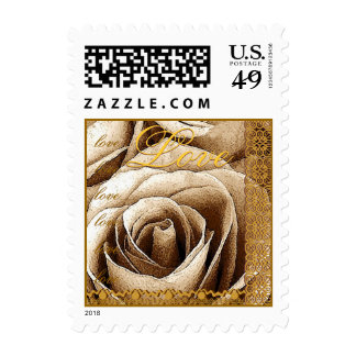 LOVE Wedding OLD GOLD Rose ANTIQUE GOLD Lace Stamp