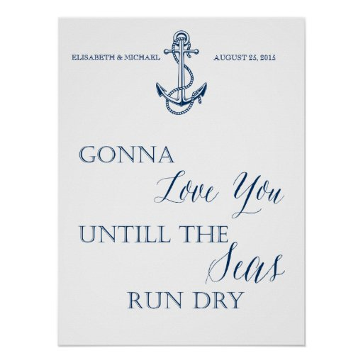 Love wedding or anniversary sign nautical style poster