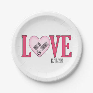 LOVE Wedding Personalized Paper Plates 7 Inch Paper Plate