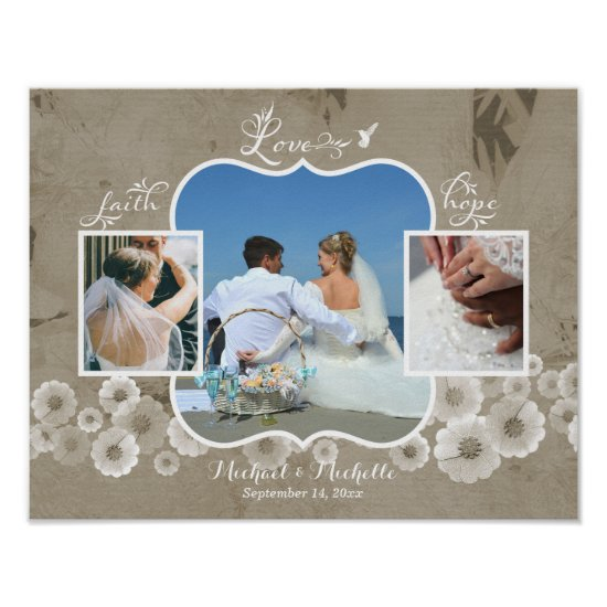 Love Wedding Photo Collage Poster