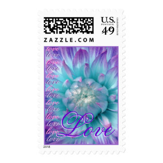 LOVE Wedding PURPLE and AQUA Flower Stamp