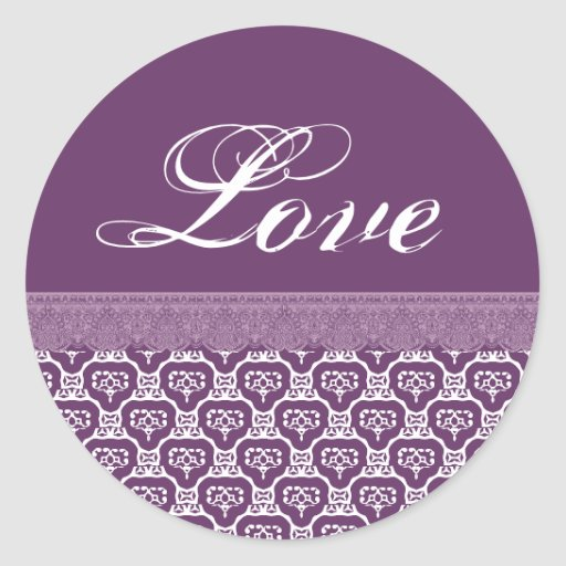 LOVE Wedding Purple and White Lace V07 Classic Round Sticker