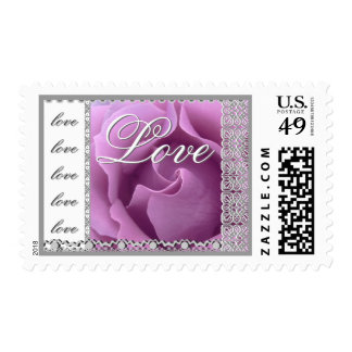 LOVE Wedding PURPLE Rose SILVER Lace Stamps