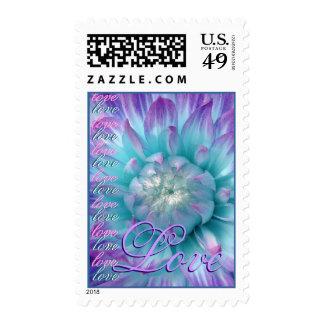 LOVE Wedding PURPLE & TURQUOISE Flower Postage Stamp