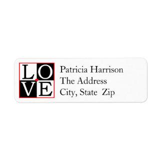 LOVE Wedding Return Address Label