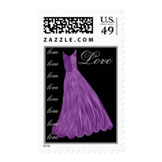 LOVE Wedding ROYAL PURPLE Dress SILVER Letters Postage Stamp