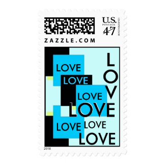 LOVE Wedding Stamp with Turquoise Squares