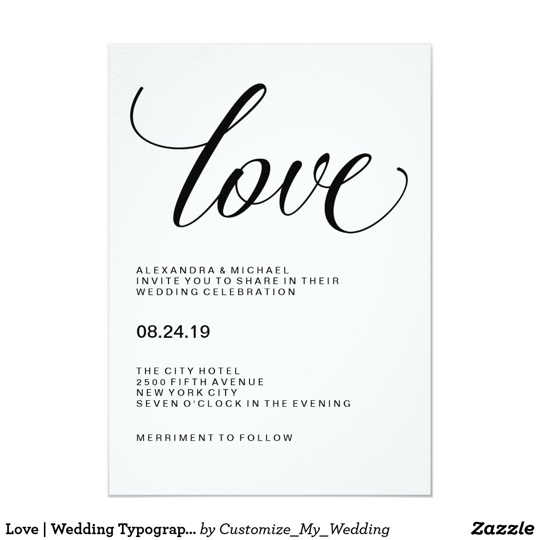 Love | Wedding Typography on Watercolor Paper Invitation
