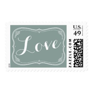 """LOVE"" Wedding Vintage Scroll Response Postage"