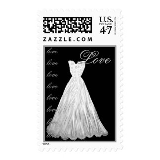 LOVE Wedding  WHITE Dress SILVER Letters Postage Stamp