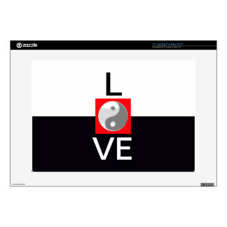 "Love Wedding Yin Yang Black and White Bride Groom Skin For 15"" Laptop"