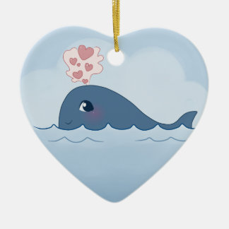 Love whale Double-Sided heart ceramic christmas ornament
