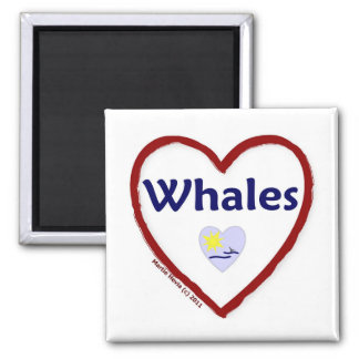 Love Whales 2 Inch Square Magnet