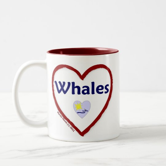 Love Whales Two-Tone Coffee Mug